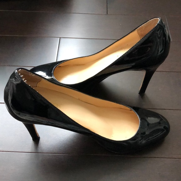 Black Patent Almond Toe Pumps